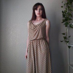 EnFocus Studio Beige Black Polkadot High-Low Dress